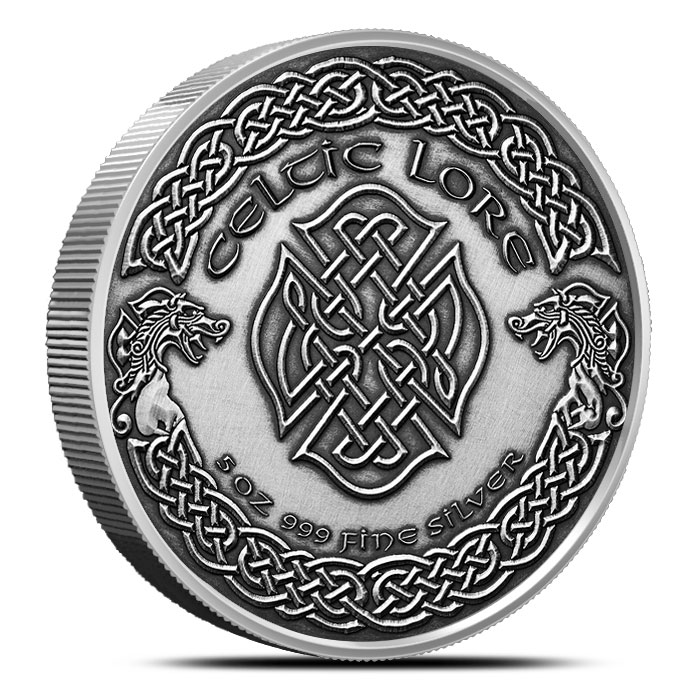 Merlin 5 oz Antique Silver Celtic Knot Reverse