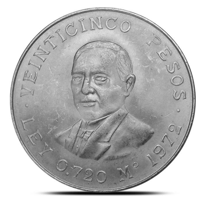 Mexican Silver 25 Pesos Coin Juarez 1972