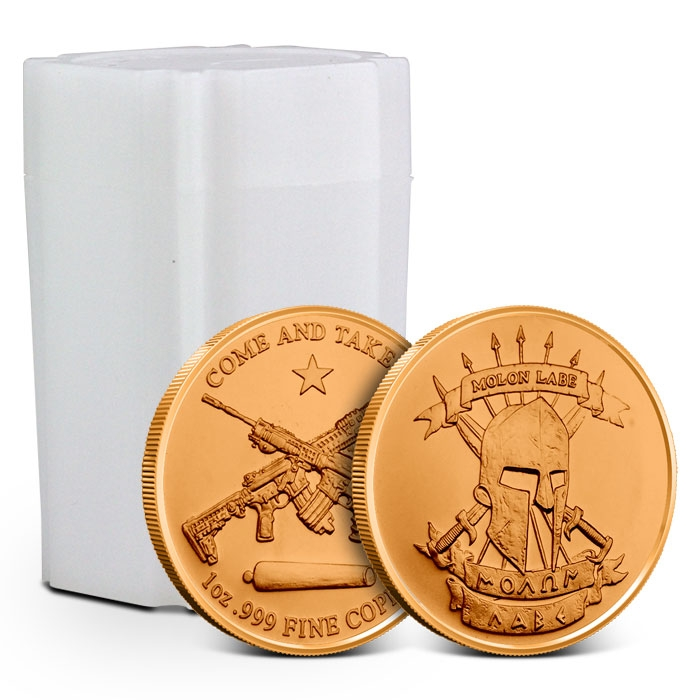 1 oz Copper Round | Molon Labe Tube