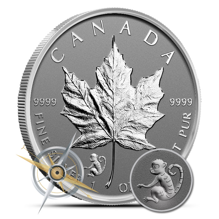 2016 1 oz Canadian Silver Maple Leaf Monkey Privy | Roll Quantity