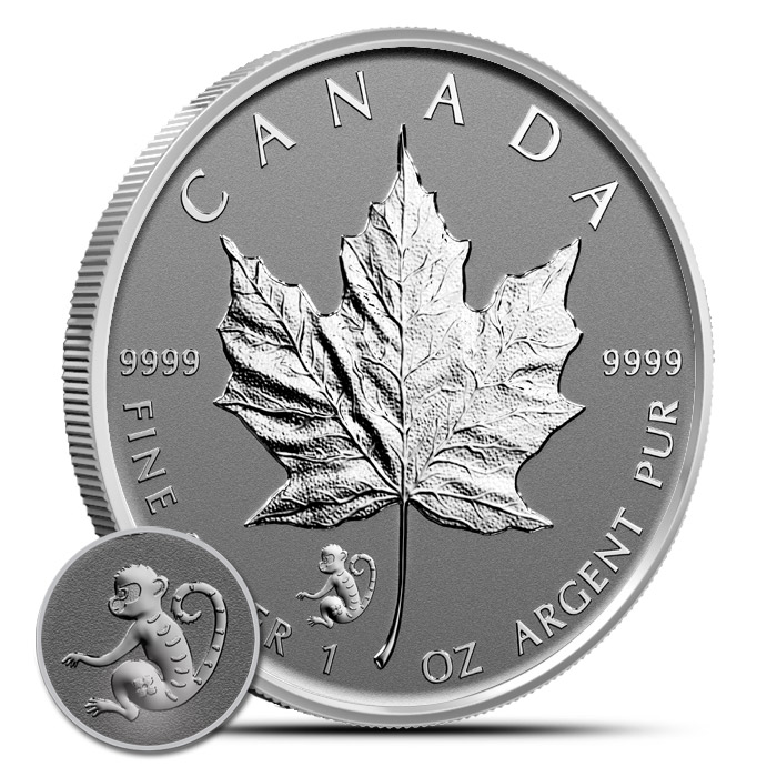 2016 1 oz Canadian Silver Maple Leaf Monkey Privy