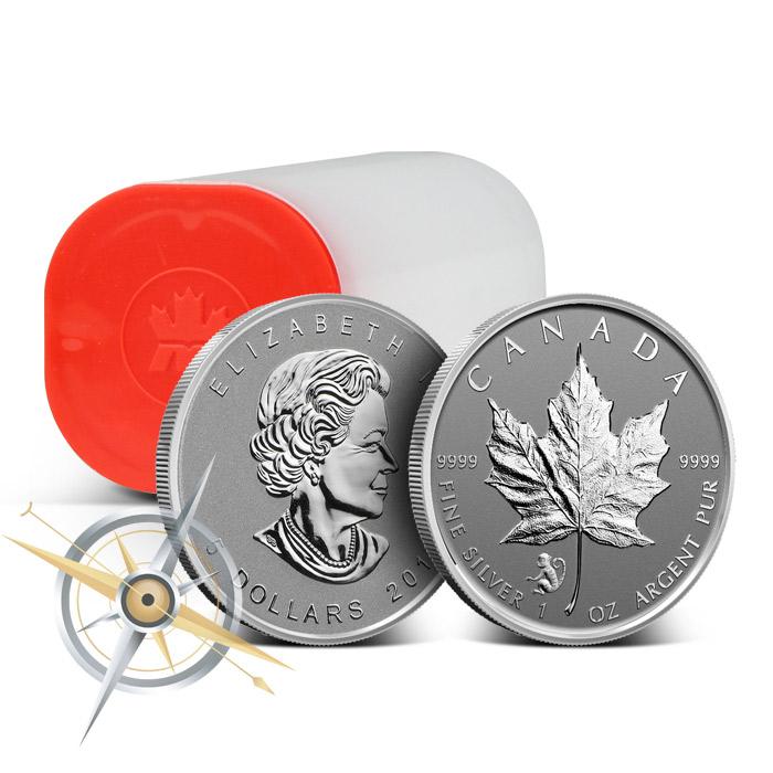 2016 1 oz Canadian Silver Maple Leaf Monkey Privy Roll | 25 1 oz Coins