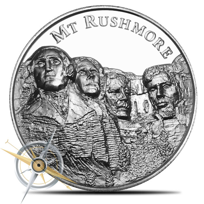 2 oz Silver Mount Rushmore Ultra High Relief Round