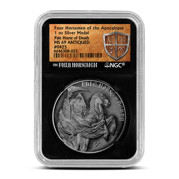 1 oz Silver Round Pale Horse of Death Antiqued NGC MS69