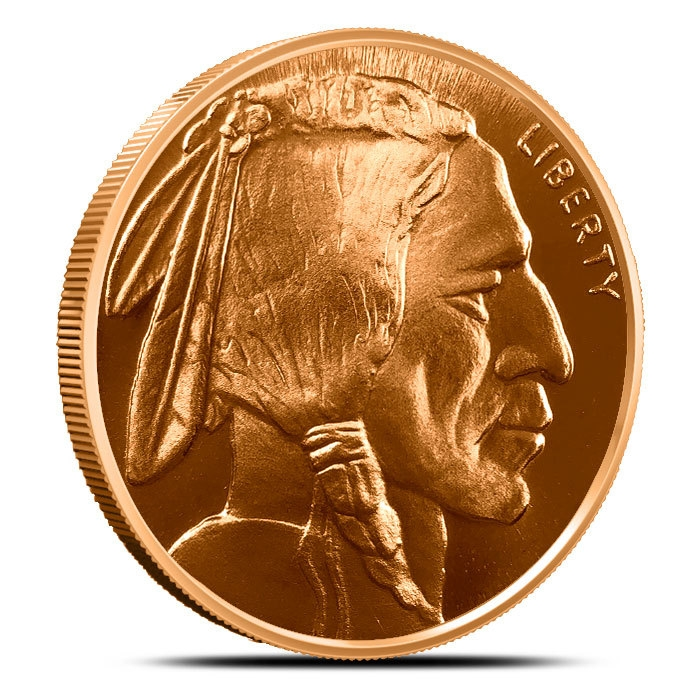Buffalo Nickel 1 oz Copper Round Obverse