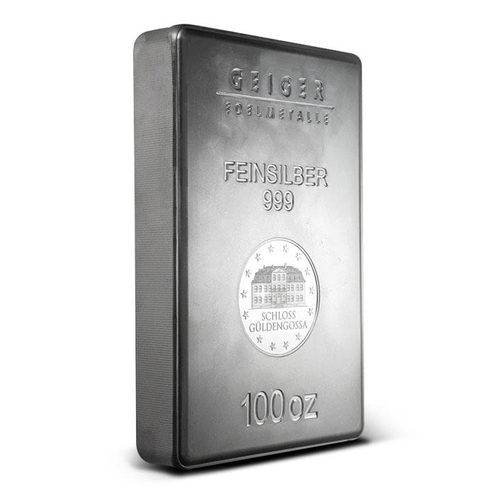 Geiger 100 oz Silver Bar Side