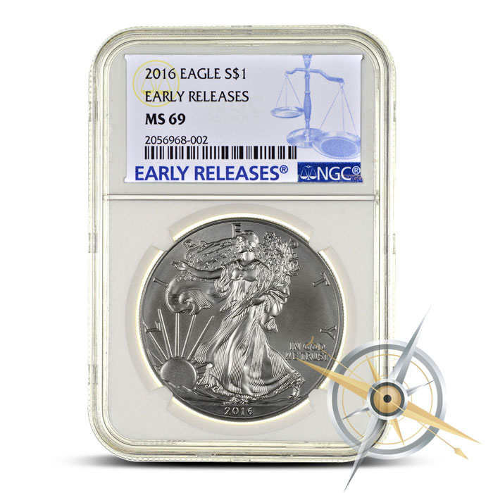 2016 1 oz American Silver Eagle NGC MS69 | Scale Label Early Release