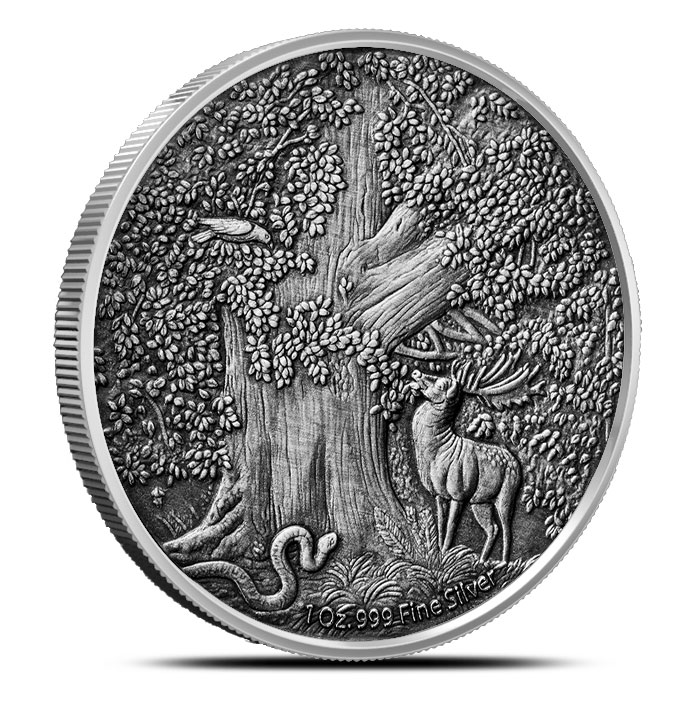 Antiqued Nidhoggr Silver Coin