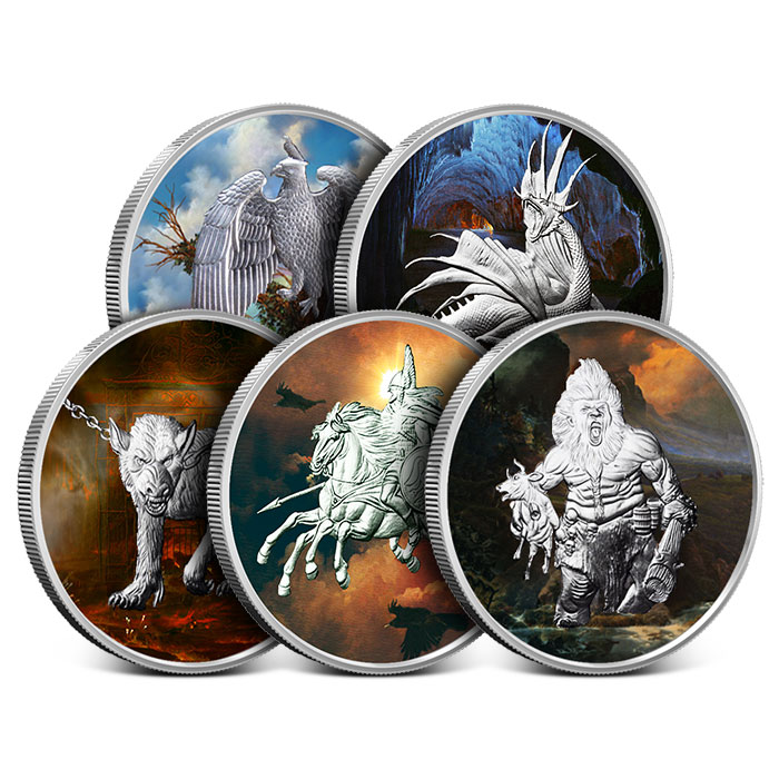 Nordic Creatures 1 oz Colorized Silver Round Set