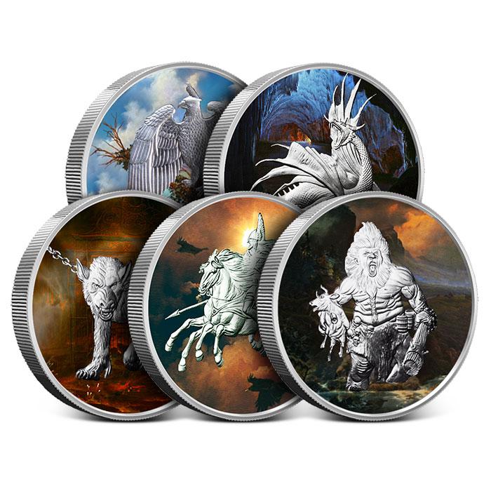 Nordic Creatures Colorized 5 oz Silver Round Set