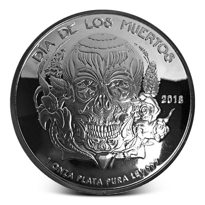 2018 Proof Dia De Los Muertos (Day of the Dead) Domed Silver Round