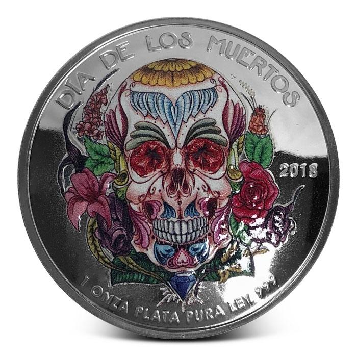 2018 Colorized Dia De Los Muertos Domed Silver Round