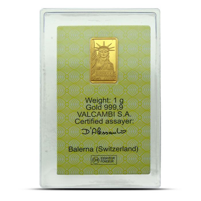 Statue of Liberty Credit Suisse 1 gram gold bar obverse