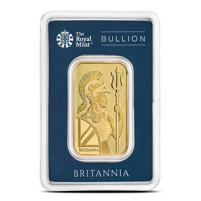 Britannia 1 oz Gold Bar In Assay Card Front