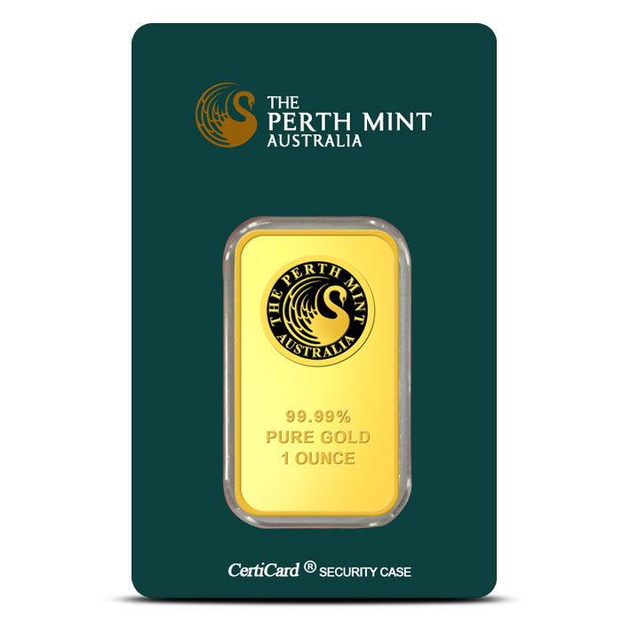 1 oz Perth Mint Gold Bar In Card Front