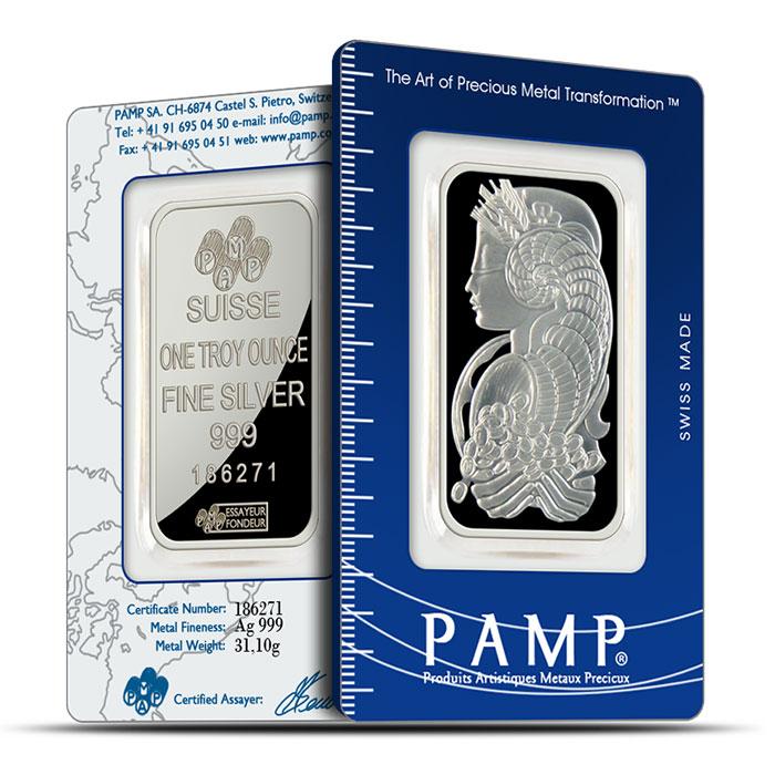 PAMP Suisse 1 oz Fortuna Silver Bars .999 Fine