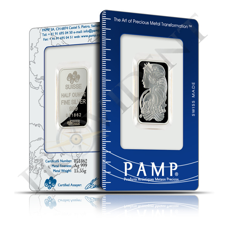 PAMP Suisse 1/2 oz Fortuna Silver Bars .999 Fine