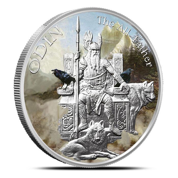 Odin Silver Round | Colorized