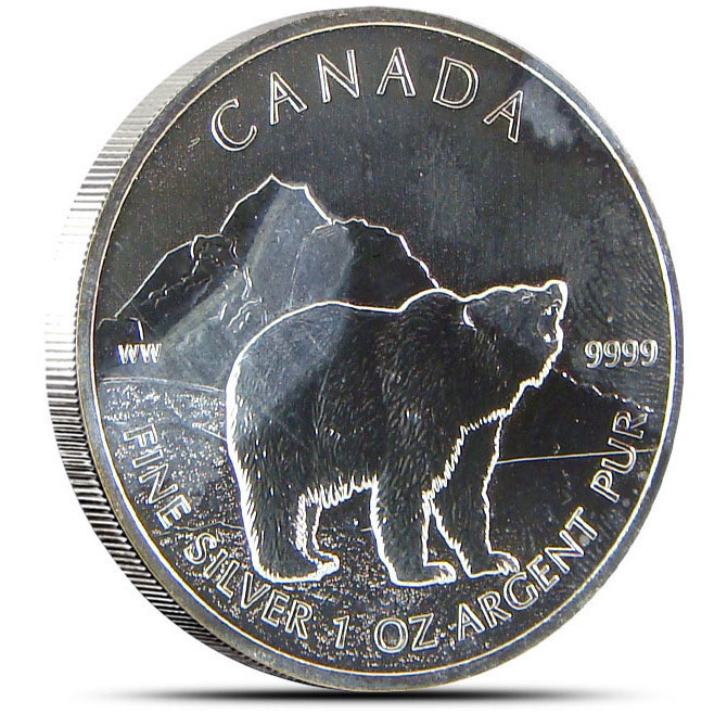 Off Quality 2011 Canadian 1 oz Silver Grizzly Obverse