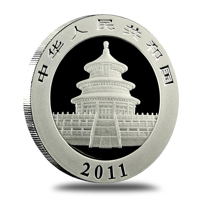 2011 China Silver Panda BU 1 oz Coin Obverse