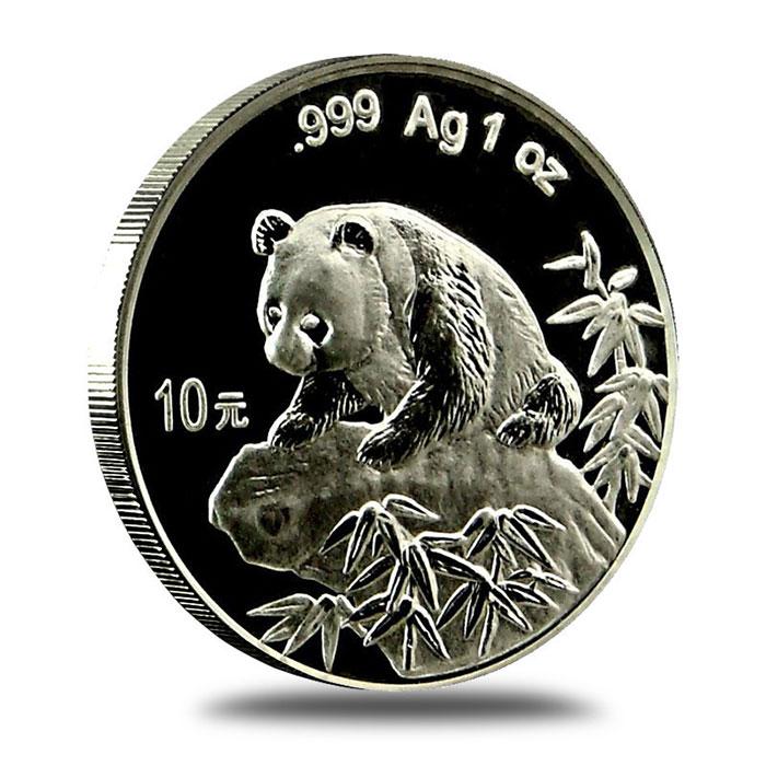 1999 China 1 oz .999 Fine Silver Panda Coin Obverse