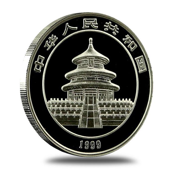 1999 China 1 oz .999 Fine Silver Panda Coin Reverse