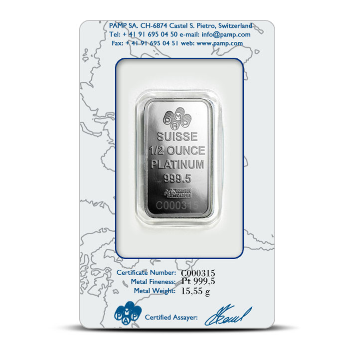 PAMP Suisse Platinum Fortuna Bar | 1/2 ounce