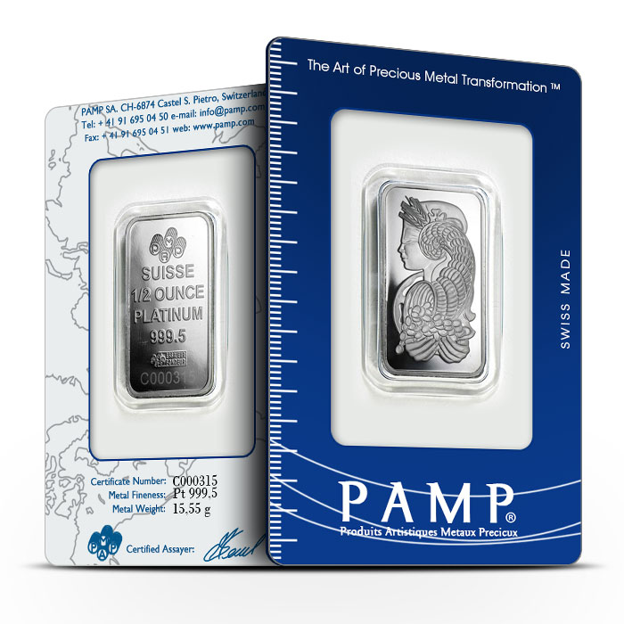 PAMP Suisse 1/2 oz Platinum Fortuna Bar