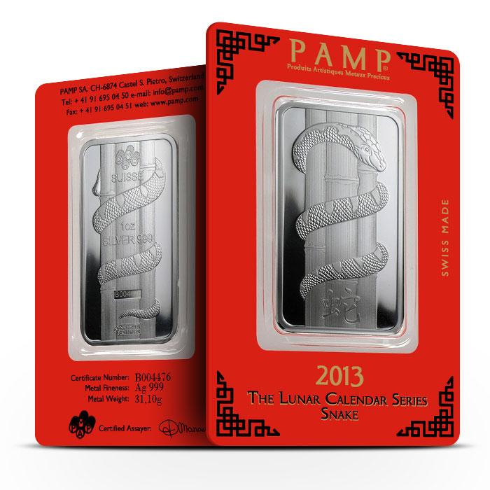 2013 PAMP Suisse 1 oz Silver Lunar Snake Bar