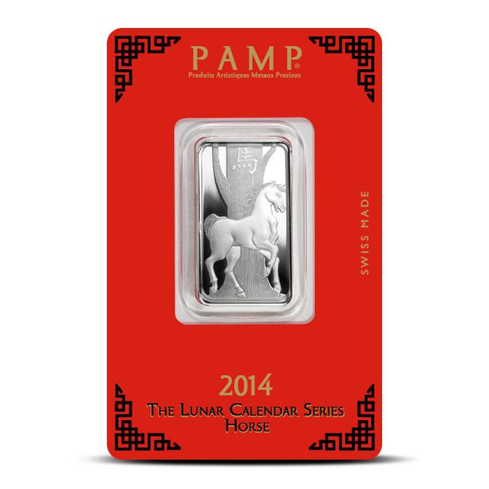 10 gram Silver Lunar Horse Bar   PAMP Suisse
