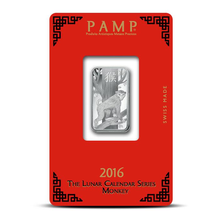 10 gram Silver Lunar Monkey Bar   PAMP Suisse