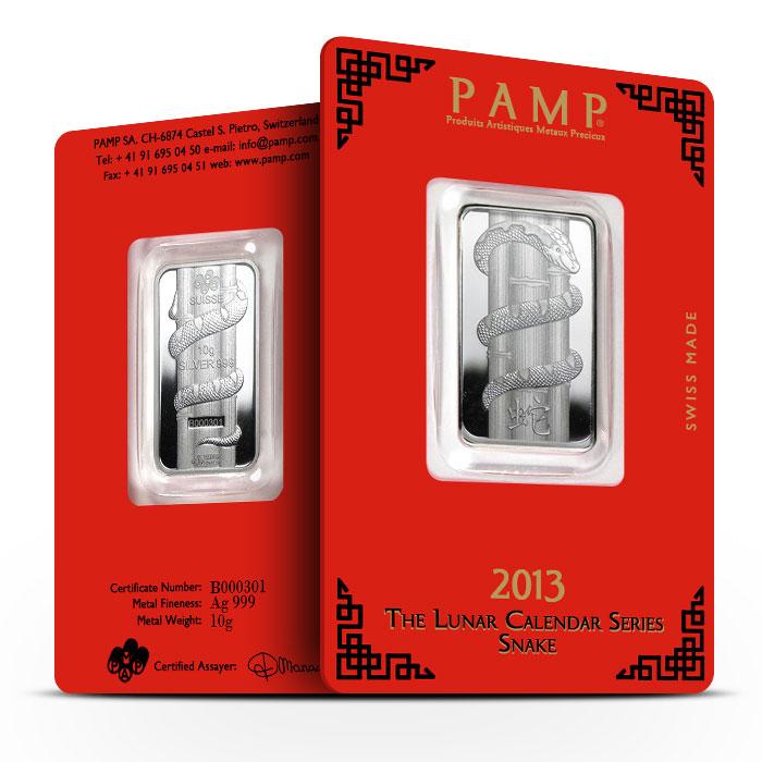 2013 PAMP Suisse 10 gram Silver Lunar Snake Bar