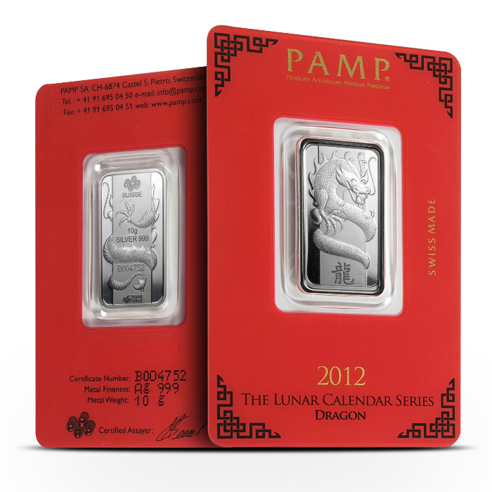 PAMP Suisse 10 gram Silver Lunar Dragon Bar