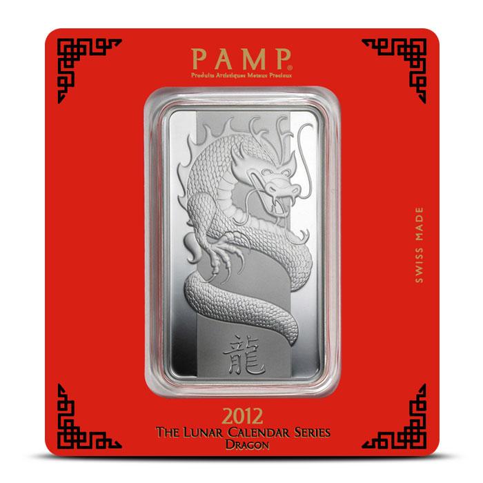 PAMP Suisse Silver Lunar Dragon Bar   100 gram