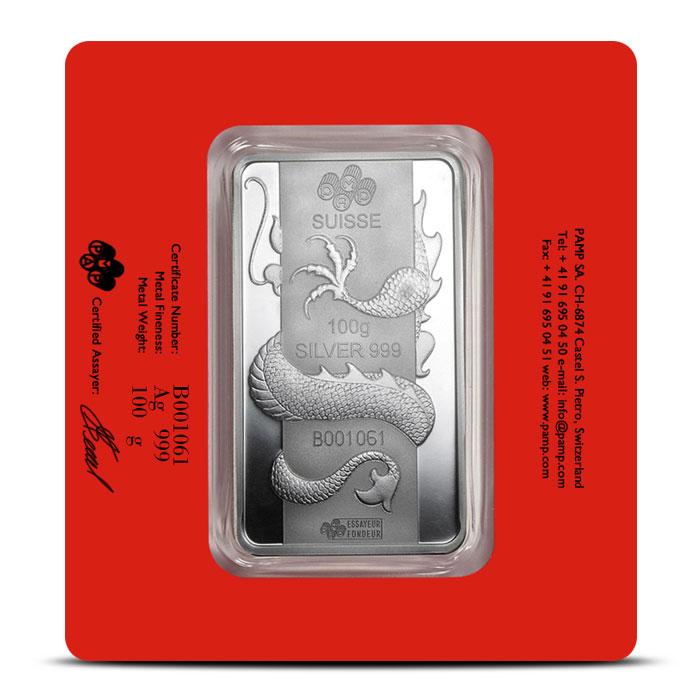 100 gram Silver Lunar Dragon Bar   PAMP Suisse