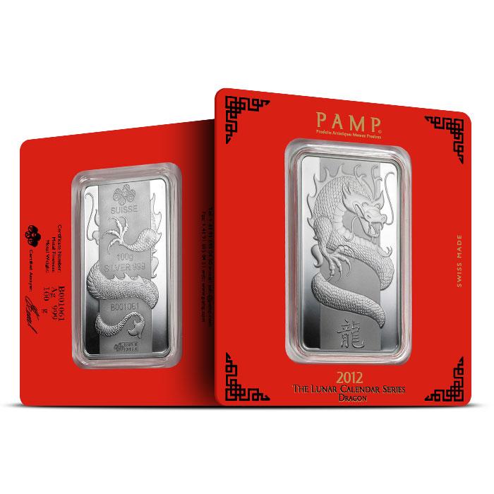 2012 PAMP Suisse 100 gram Silver Lunar Dragon Bar