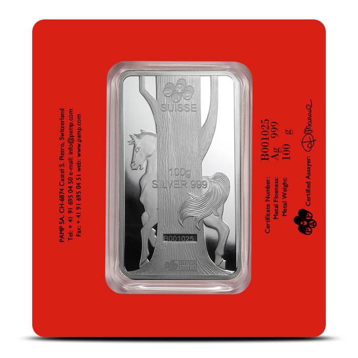 PAMP Suisse Silver Lunar Horse Bar | 100 gram