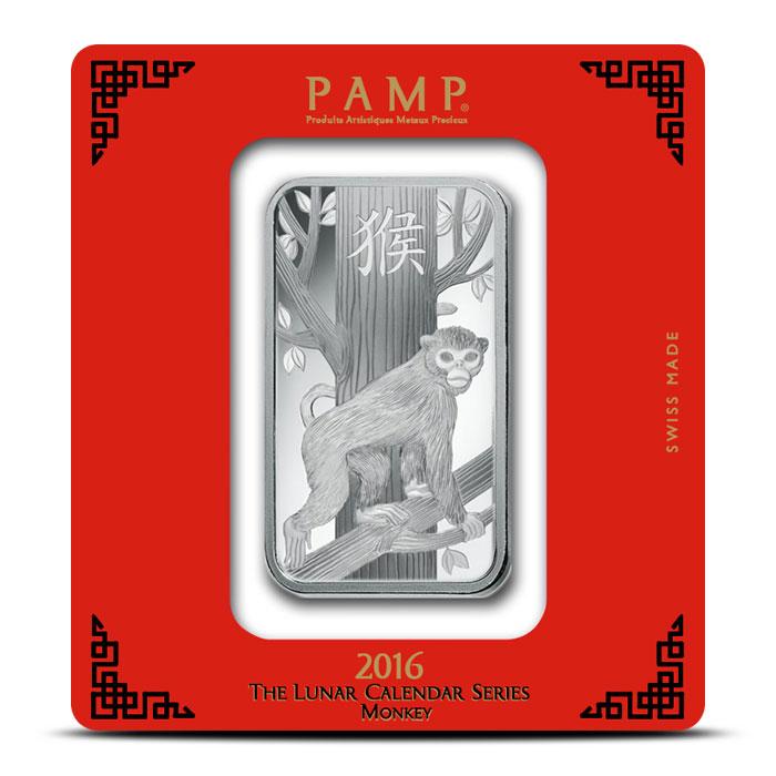 100 gram Silver Lunar Monkey Bar | PAMP Suisse