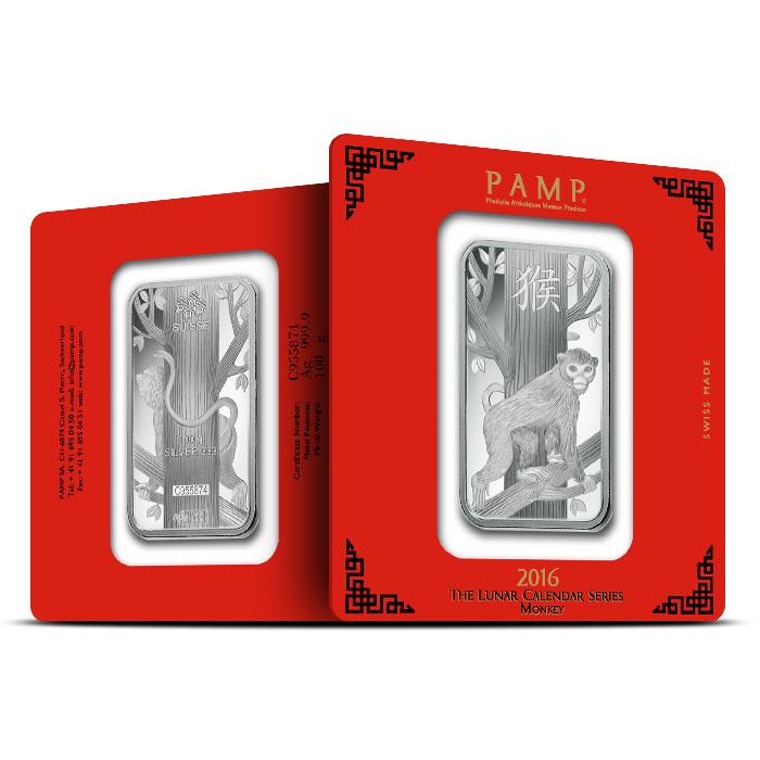 2016 PAMP Suisse 100 gram Silver Lunar Monkey Bar
