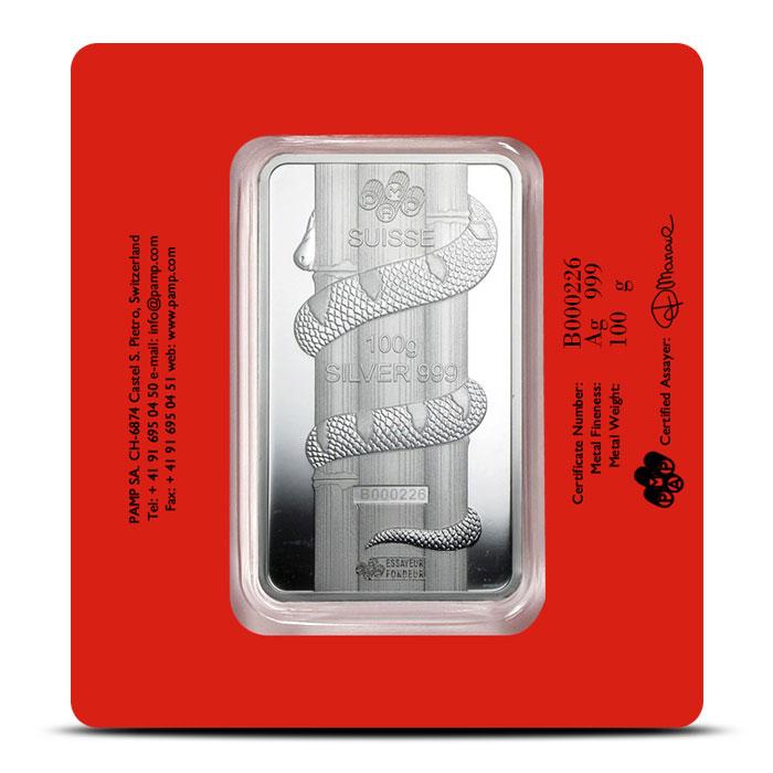 100 gram Silver Lunar Snake Bar | PAMP Suisse