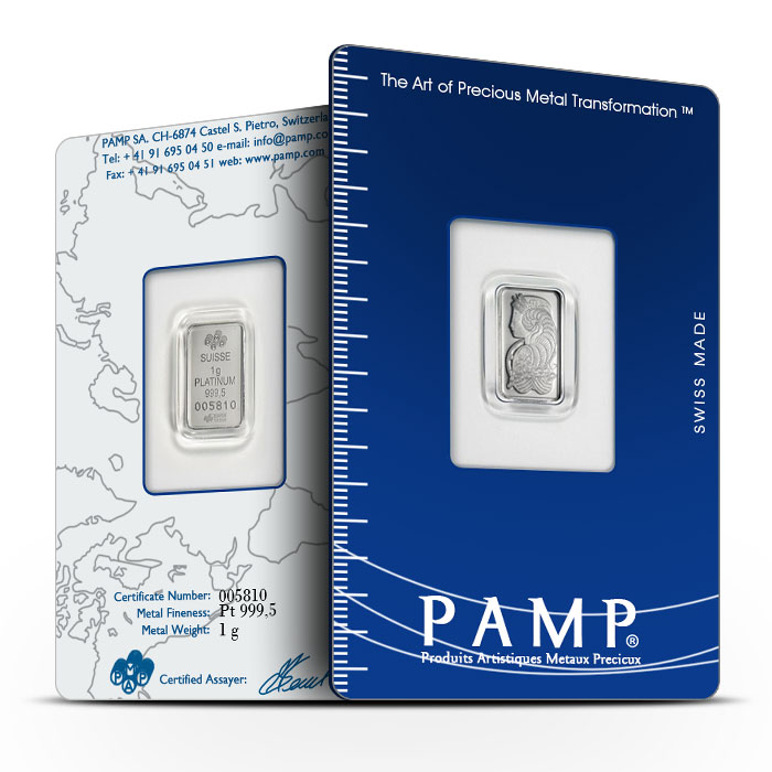 PAMP Suisse 1 gram Platinum Fortuna Bar