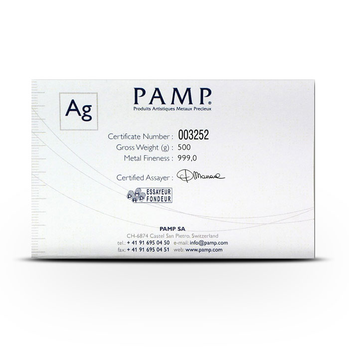 PAMP Suisse Silver Fortuna Bar | Certificate of Authenticity