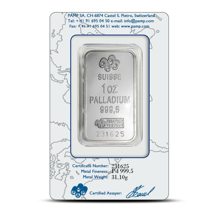 Pamp Suisse   1 oz Palladium Bar Back