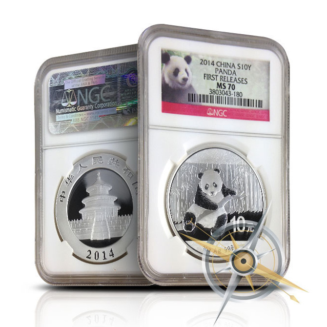 2014 1 oz Chinese Silver Panda First Releases | NGC MS70