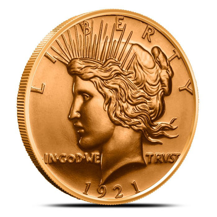 Peace Dollar 1 oz Copper Rounds
