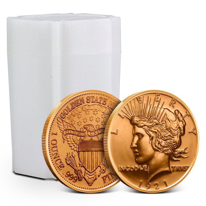 Tube of Peace Dollar Copper Rounds