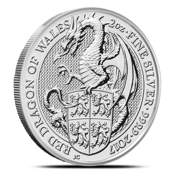 Red Dragon of Wales Silver Coin