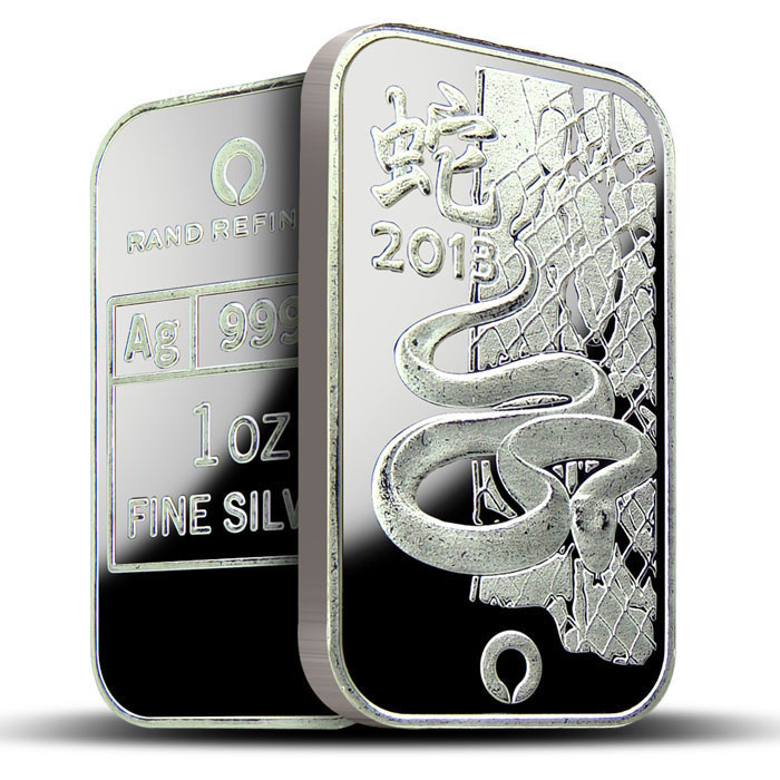 Rand Refinery 2013 Year of the Snake 1 oz Silver Bars