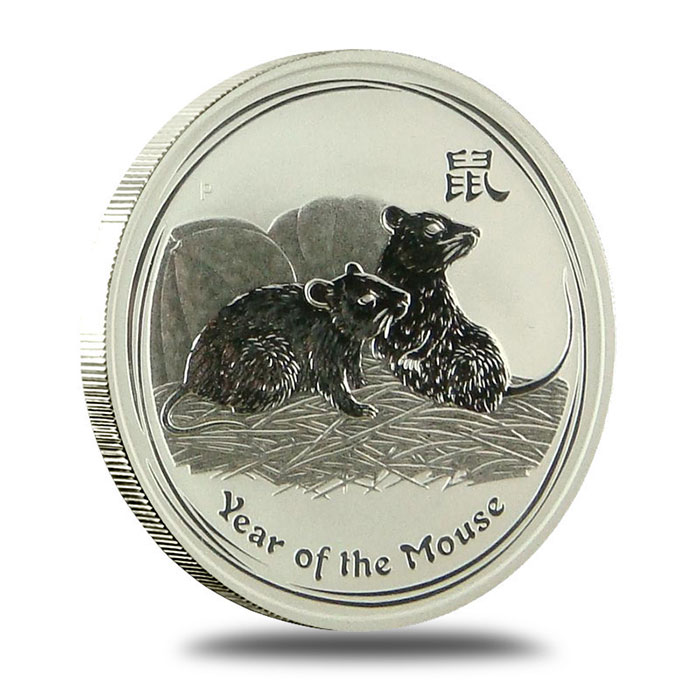 Perth Lunar Series 2008 Year of the Mouse 1 oz Silver Coin Obverse