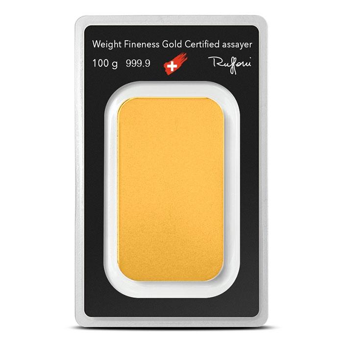 Argor-Heraeus 100 gram Gold Bar Reverse